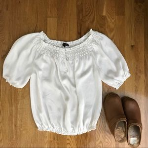Violet and Claire White Peasant Blouse
